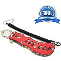 Fish Grip, Portable Rustproof Aluminum Alloy Fish Lip Gripper for Saltwater and Freshwater,Fly Fishing,Kayaking Accessories,Popular Ice Fishing,Outdoor Fishing and Angling