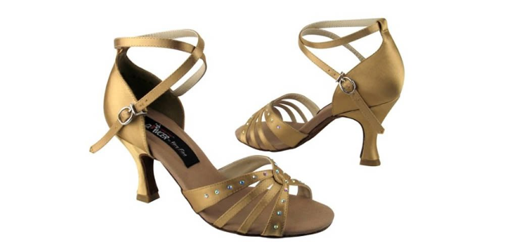 Very Fine Shoes Competitive Dancer Series CD2808 Open Toe with Rhinestones (8-2.5'', Tan Satin)