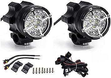 Paire de Phares LED de Moto Projecteur Avant Feux de Brouillard Suppl/émentaires pour Moto Quad avec Interrupteur et Support de Montage 45W 3000 LM 12V-80V