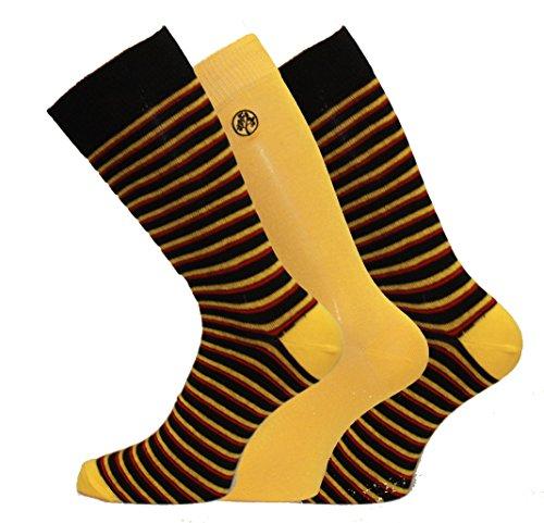 7 uomo Abito Socks Green striscia giallo 11 stile Alexander wgIaqxS