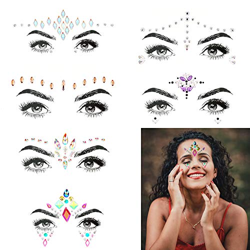 Bling 6 Sets Self-adhesive Mermaid Face Gems Stickers, Rave Festival Face Jewels Crystal Rhinestone Temporary Tattoo Stickers DIY Crafts Gem for Body, Makeup, Festival, - Face Bling