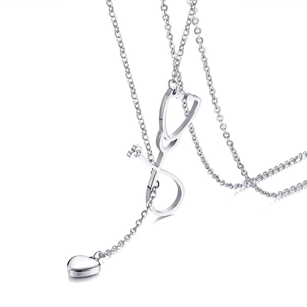 BeautySalon Women Adjustable Lariat Necklace Love Stethoscope Pendant for Medical Nurse Doctor
