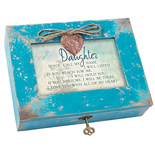 Daughter Love You All My Heart Teal Wood Locket Jewelry Music Box Plays Tune Wonderful World - Heart Style Music Box