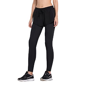 ef51c540a57 Vansydical Womens Running Fake Two-Pieces Set Shorts Fitness Yoga ...