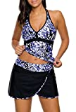 Dokotoo Womens Sexy Ladies High Waist Print Tummy Control Tankini Tops Bathing Suits Two Piece Swimsuit Blue XX-Large