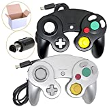 Poulep 2 Pack Classic Wired Gamepad Joystick Controllers for Wii Game Cube Gamecube (Black and Silver)