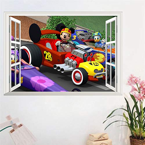 MaxLight Nursery Anime Wall Decals Mickey Mouse Donald Duck Racing car 3D False Window PVC Stickers for Kids Rooms adesivo Wallpaper ()