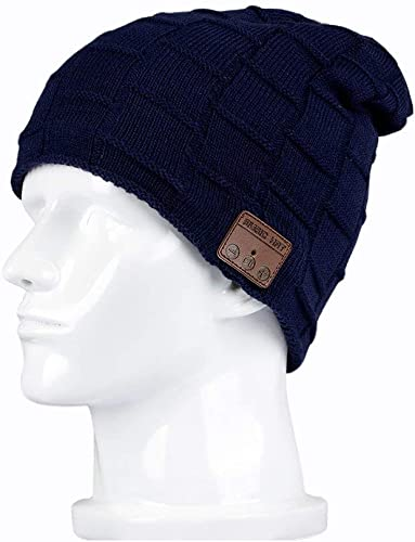 BearsFire Wireless Music Hat Beanie with Bluetooth Headphone Earphone Stereo Speaker Mic Hands-Free, Men Women Winter Warm Thick Skull Cap Outdoor Sport Running Knit Hat for Iphone Android Cell Phones