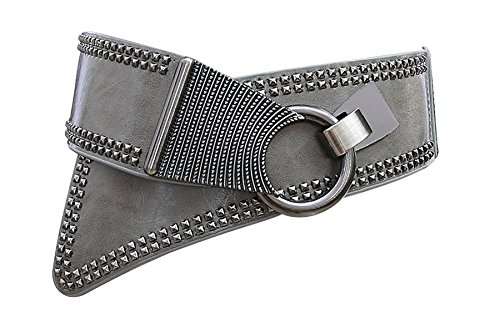 Classic Studded Leather Belt (Women's Steampunk Rock Gothic Wide Leather Waist Chain Rivet Studded Corset Belt (Gray))
