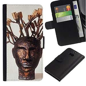 All Phone Most Case / Oferta Especial Cáscara Funda de cuero Monedero Cubierta de proteccion Caso / Wallet Case for HTC One M8 // Tree Symbolic Art Portrait Statue Modern
