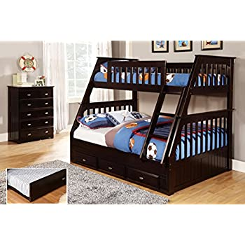 Discovery World Furniture Twin Over Full Bunk Bed With 3 Drawer Storage Espresso