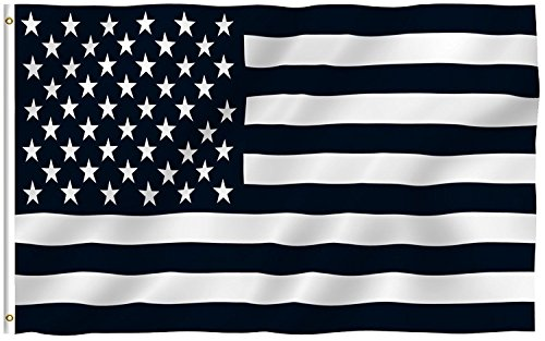 3'x5' BLACK and WHITE AMERICAN FLAG, military, nascar, army, Anti Trump Protest Black Lives Matter