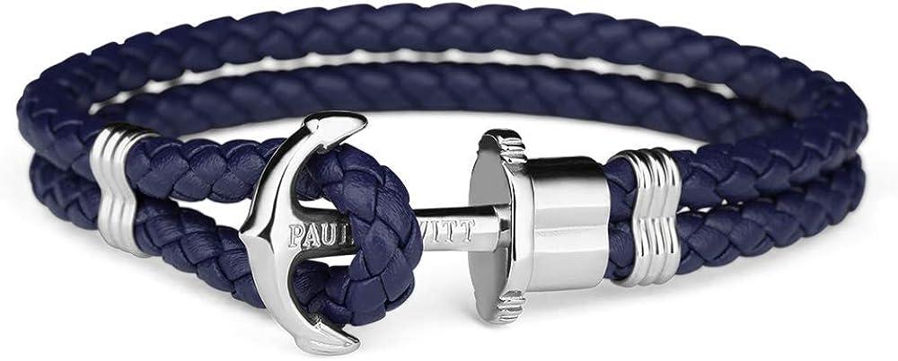 Paul Hewitt Pulsera para Hombre o Mujer PHREP - Pulsera de Cuero Azul Marino con Ancla, Brazalete de Hombre o Mujer con Cuerda de Vela y Ancla, Accesorio de Acero Inoxidable bañado en Plata