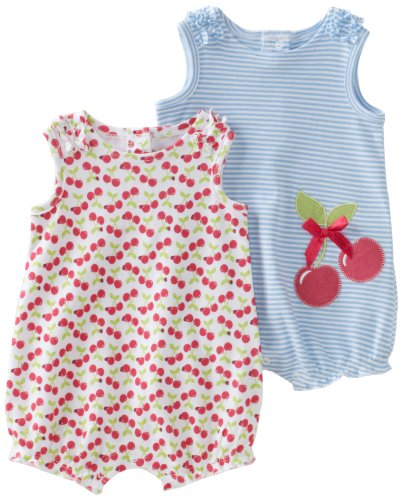 Little Me Baby-girls Newborn Cherries 2 Pack Romper
