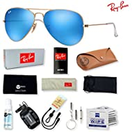 Ray-Ban RB3025 Aviator Large Metal Sunglasses with Deluxe Eyewear Accessories Bundle