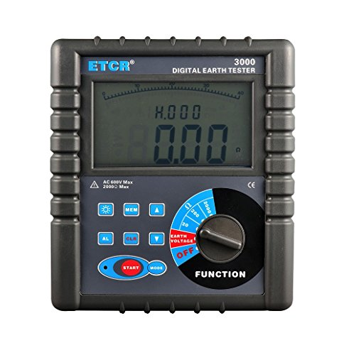 ETCR3000 Digital Grounding Resistance Meter with Data Storage Function Resistance Range 0.01 to 2000 Ohm Grounding Voltage Range AC 0 to 600V Grounding Earth Resistance Tester with LCD Display by CNYST