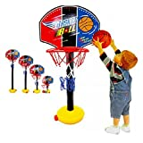 Kids Basketball Hoop Adjustable Toy Set Stand Ball Pump Backboard Net for Outdoor Indoor Sports Train Equipment