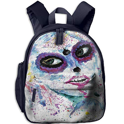 Haixia Kids' Boys'&Girls' Bookbag with Pocket Girls Grunge Halloween Lady with Sugar Skull Make Up Creepy Dead Face Gothic Woman Artsy Blue Purple ()
