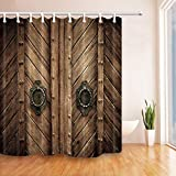 Calvinbi Polyester Shower Curtain Fabric Rustic Farmhouse Wooden Door Style 3D