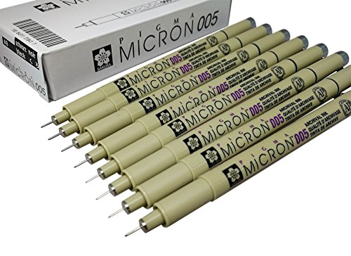 Sakura Pigma Micron pen 005 Black ink marker felt tip pen, Archival pigment ink, fine point for artist drawing pens - 8 pen set