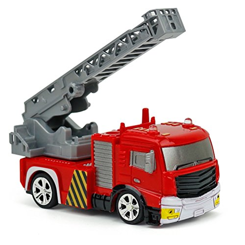 STOBOK Kids fire Truck Toy Remote Control DIY Rechargeable rc Construction Toys with Light 1:58 Aerial Ladder fire Truck