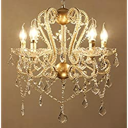 "Sun-E American Vintage Chandeliers Golden Metal Frame with Glass Beads & Maple Leaf Shape K9 Crystals Pendant Ceiling Fixture Lamp W22"" H26"""
