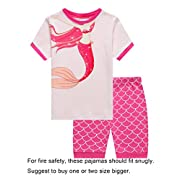 Family Feeling Baby Girls Mermaid Snug-Fit Pajamas Short Sets 100% Cotton Pink Pjs Clothes Infant Kid 18-24M