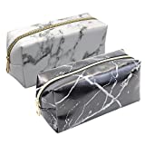 2 Pieces Cosmetic Toiletry Makeup Bag Pouch Gold Zipper Storage Bag Marble Pattern Portable Makeup Brushes Bag (White and Black)