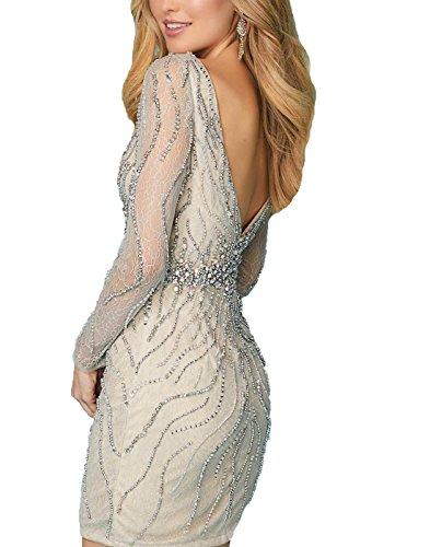Beaded Prom Women's Neck QZ043 Length DRESS Knee Red QUZI Formal Dresses Deep Dresses v Short wnS0q4wxAB