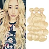 FASHION QUEEN Hair 613 Blonde Hair Bundles, Silk Body Wave Brazilian Virgin Hair, Honey Blonde Unprocessed Human Hair Weave 3 Bundles 300g Mixed Length 16 18 18 Inch