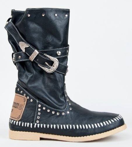 CANPER-03 Strappy Studded Belt Buckle Slouchy Mid Calf Western Cowboy Boot