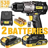 Cordless Drill, 20V Drill Driver 2x2000mAh Batteries, 530 In-lbs Torque, 24+1 Torque Setting, Fast Charger 2.0A, 2-Variable Speed, 33pcs Accessories, 1/2' Metal Keyless Chuck, Upgraded Version