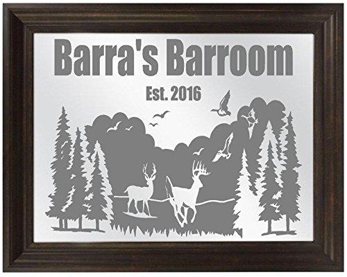 Deer Buck Duck Hunting Sandblasted Mirror, Personalized Bar Mirror, Custom Personalized Mirror, Etched Bar Mirror, Custom Bar Mirror, Large Mirror