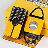 FLYINGQIN Yellow Classic 3 Torch Jet Flame Cigar Lighter W/Saw Blade Cutter Punch