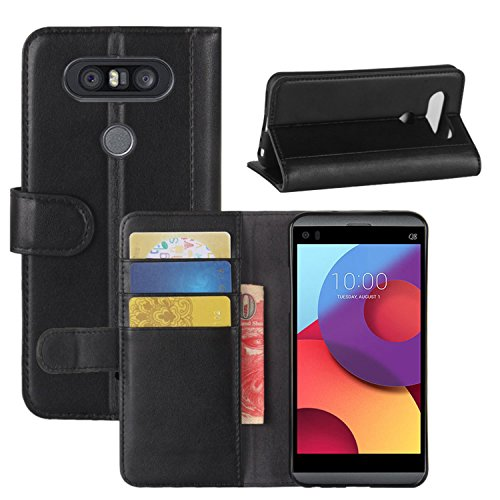 Genuine Q8 Brown Credit Leather for LG Q8 Handmade Case Wallet Card Flip Phone Black Cover LG with HualuBro ID Case Protective Slots tHRBww
