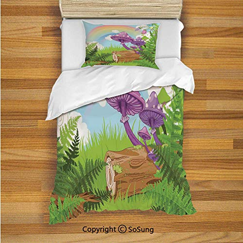 Mushroom Decor Kids Duvet Cover Set Twin Size, Fantastic Scenery with Wood Timber on The Grass and Rainbow Fungus Herbs Leaves Weed Artwork 2 Piece Bedding Set with 1 Pillow Sham,Multi
