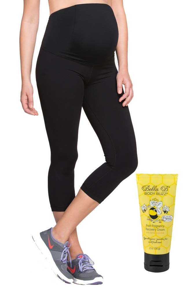 Bundle 2 Item Ingrid Isabel Maternity Capri Active Pant BellaB BodyBuzz Black M