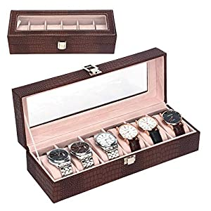 MICOM Watch Box Organizer for Men Women 6 Slots Crocodile Leather Watch Display Case with Glass Window (Coffee)