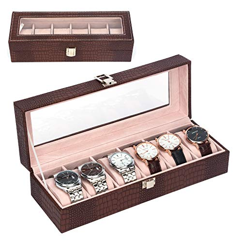 MICOM Watch Box Organizer for Men Women 6 Slots Crocodile Leather Watch Display Case with Glass Window