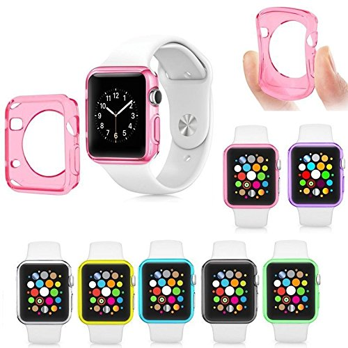 Apple iWatch 38mm Liquid Air 7 Pack Pink, Blue, Green, Clear, Yellow, Purple, Gray, Bumper Skin Protective Case Shockproof Slim Ultra Thin Rugged Flexible Series 1, 2 and 3 [Gel Watch Cover]