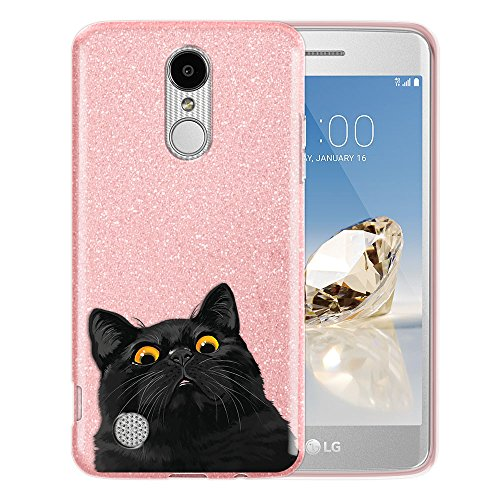 FINCIBO Case Compatible with LG Aristo MS210 LV3 K8 2017 Phoenix 3 M150 Fortune, Shiny Pink Bling Glitter TPU Protector Cover Case for LG Aristo MS210 (NOT FIT K8 2016) - Cute Black Bombay Kitten Cat