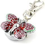 YouYouPifa Children's Alloy Quartz Hot Pink Butterfly Keychain Watches (Silver)