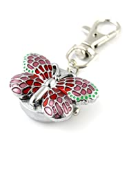 MapofBeauty Gorgeous Key Chain Ring With Butterfly Pendent Pocket Quartz Watch (Pink)