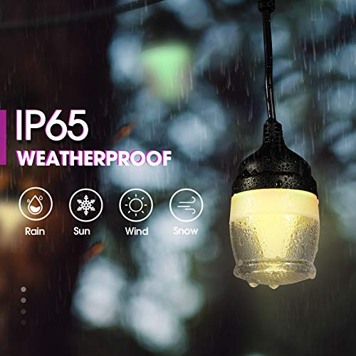 Fricon - Cadena de luces LED para exteriores de 43 pies a prueba de agua para patio, multicolor cambiante y blanco cálido, 14 bombillas regulables RGB colgantes, 2 controles remotos, cadena de luces colgantes para exteriores para porche de café en el pati