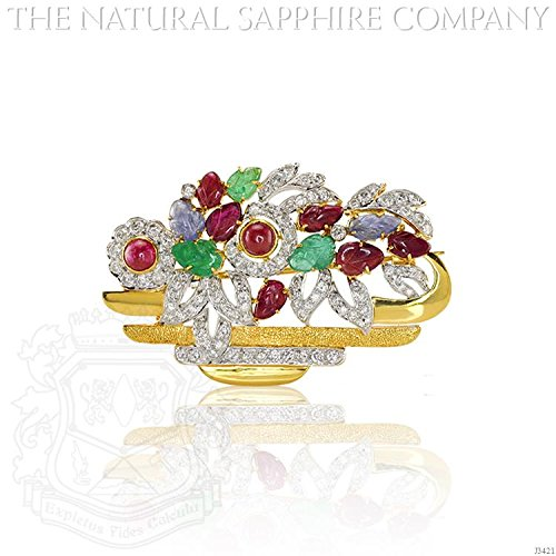 Natural Ruby, Emerald and Sapphire Brooch with diamond 1.15ct. Diamonds. (J3421) - Diamond Ruby Sapphire Brooch