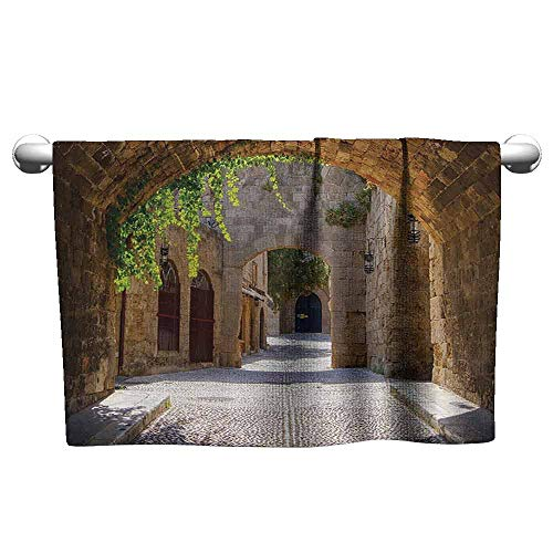 DUCKIL Cute Hand Towels Tuscan Decor Collection Ancient Italian Street in Small Provincial Town of Tuscan Italy Europe Fitness Sheet 63 x 31 inch Ivory Green Grey