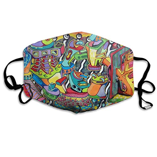 Abstract Trippy Graffiti Paint Dustproof Earloop Mouth Mask