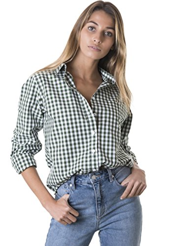 CAMIXA Women's Gingham Shirt Checkered Casual Long Sleeve Button Down Plaid Top XXL Pine Green