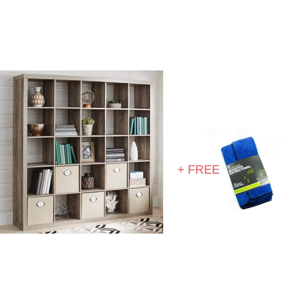 Better Homes and Gardens.. 25 Cube Organizer Room Divider, Rustic Gray + Free Microfiber Drying Towel