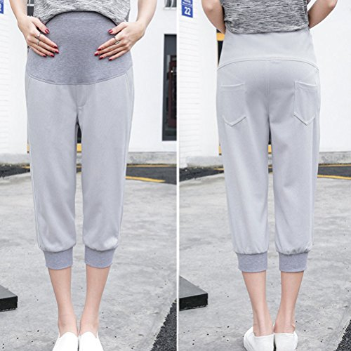 Zhhlaixing pantalones de maternidad Pregnancy Women Capri Pants Maternity Clothes Care Bdomen Belly Sweatpants Gray